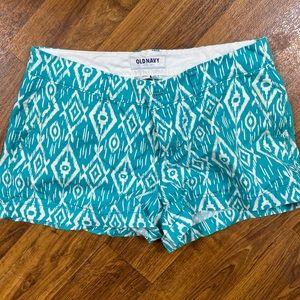Teal print shorts